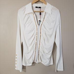 KFG Long Sleeve White Gold Cardigan NWT